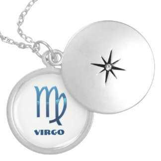 Blue Virgo Zodiac Signs On White Silver Plated Necklace