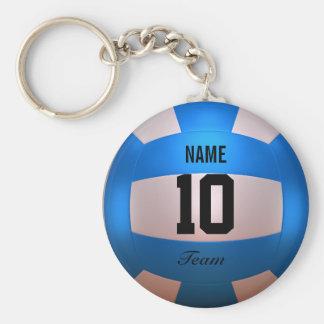 Blue Volleyball Basic Round Button Keychain
