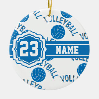 Blue Volleyball Ceramic Ornament