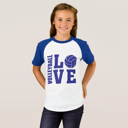Blue Volleyball Love, Volleyball T-Shirt