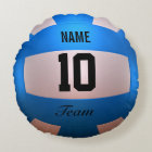 Blue Volleyball Round Pillow