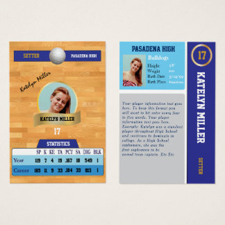Blue Volleyball Sports Trading Card w/ Autograph