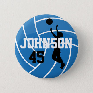 Blue Volleyball with Silhouette Player 2 Inch Round Button