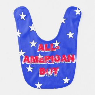 Blue w Stars USA Baby All-American Boy Bib