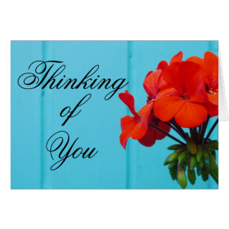 Blue Wall Red Flower Thinking of You Note Card