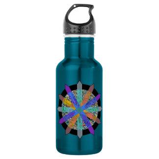 Blue water bottle with modern geometric design