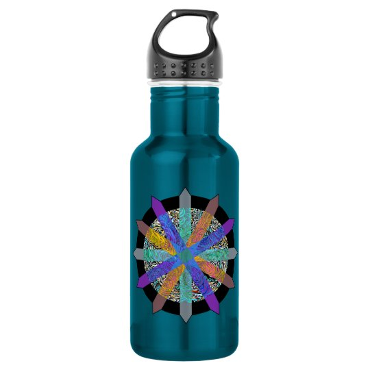 Blue water bottle with modern geometric design