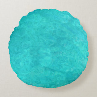 Blue Water Color Round Pillow