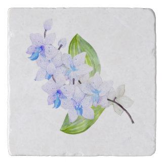 Blue Water Colour Orchid Trivet
