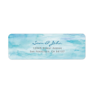 Blue Water Colour Return Address Label