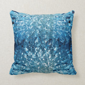 Blue Water Crystals Throw Pillow