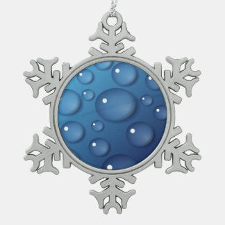 Blue Water Drop Texture Pewter Snowflake Ornament
