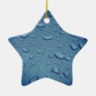 Blue Water Drops Ceramic Star Ornament