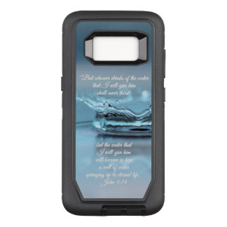 Blue Water Life never thirst Bible Verse John OtterBox Defender Samsung Galaxy S8 Case