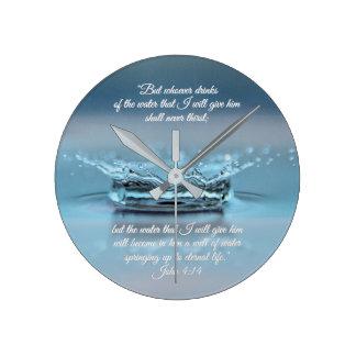 Blue Water Life never thirst Bible Verse John Round Clock
