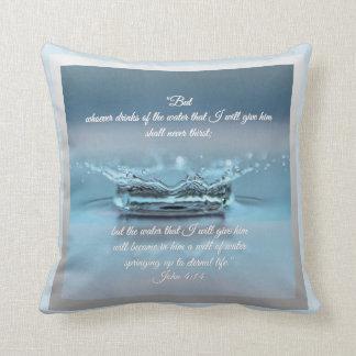 Blue Water Life never thirst Bible Verse John Throw Pillow