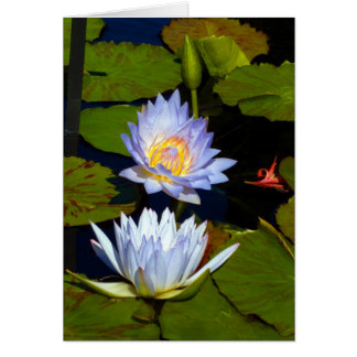 Blue Water Lilies Greeting Cards