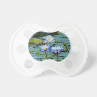 Blue water lilies dummy pacifier
