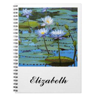 Blue water lilies notebook