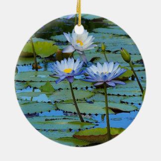 Blue water lilies ornament