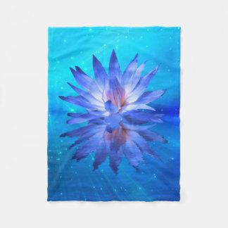 Blue Water Lily Fleece Blanket