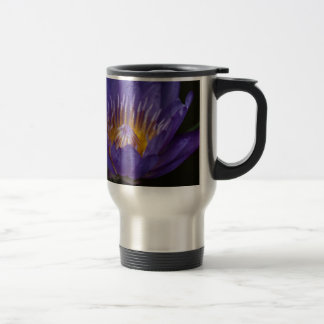 Blue water lily travel mug