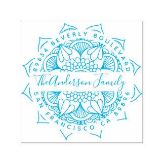 Blue Water Mandala Typography Return Address Self-inking Stamp