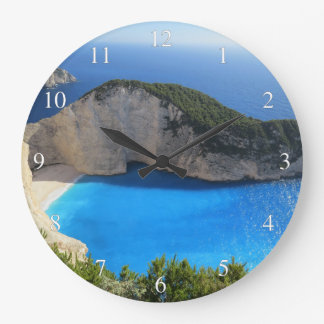 Blue Water Ocean Bay Large Clock