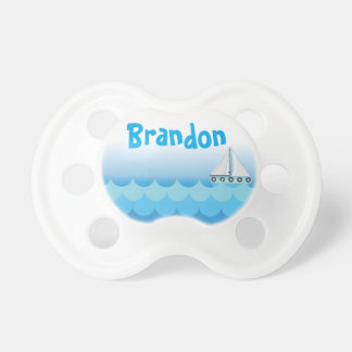 Blue Water Ocean Sea Sailing Sailboat Personalized Pacifier