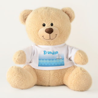 Blue Water Ocean Sea Sailing Sailboat Personalized Teddy Bear