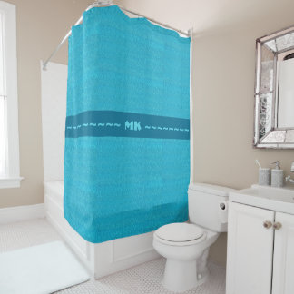Blue Water Shower Curtain with Initials