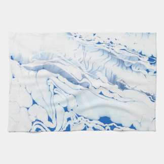Blue  water texture design, marbling paper, kitchen towels