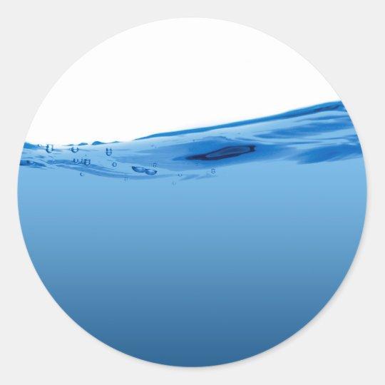 Blue water wave classic round sticker