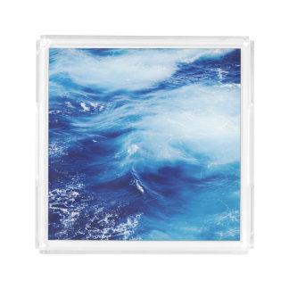 Blue Water Waves in Ocean Acrylic Tray