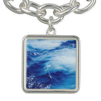 Blue Water Waves in Ocean Charm Bracelet