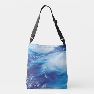 Blue Water Waves in Ocean Crossbody Bag