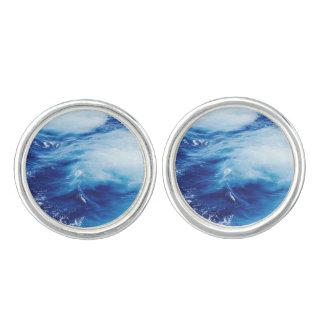 Blue Water Waves in Ocean Cuff Links