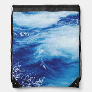 Blue Water Waves in Ocean Drawstring Bag