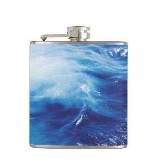 Blue Water Waves in Ocean Hip Flask