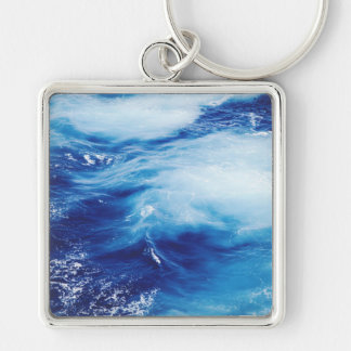 Blue Water Waves in Ocean Keychain