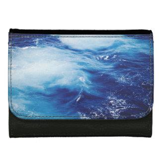Blue Water Waves in Ocean Leather Wallet For Women