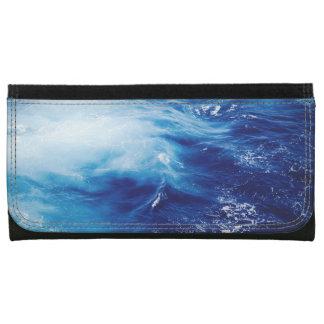Blue Water Waves in Ocean Leather Wallets