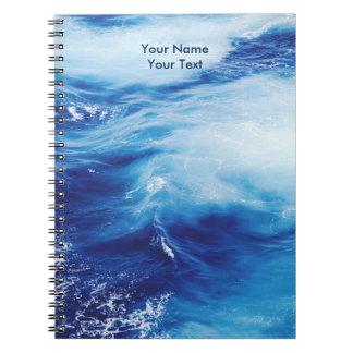 Blue Water Waves in Ocean Spiral Notebook