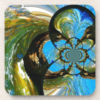 Blue Water Whirled in Rocks Drink Coaster