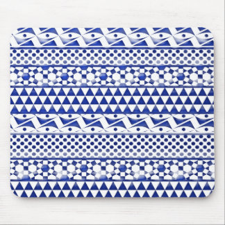 Blue Watercolor Abstract Aztec Tribal Print Pattrn Mouse Pad
