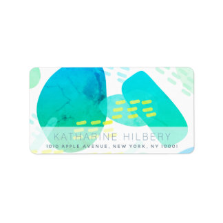 Blue Watercolor Abstract Pattern Address Label