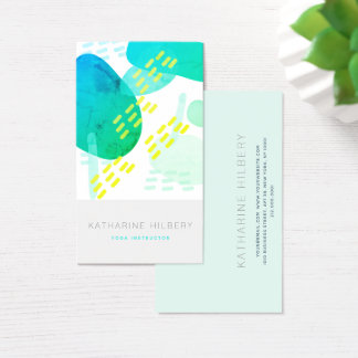 Blue Watercolor Abstract Pattern Business Card