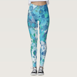 Blue Watercolor Abstract Splats Leggings