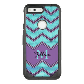 Blue watercolor and black Chevron, Personalized OtterBox Commuter Google Pixel Case