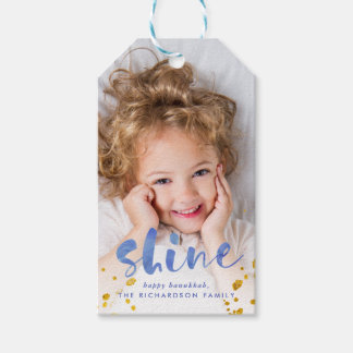 Blue Watercolor and Gold Shine | Photo Gift Tags